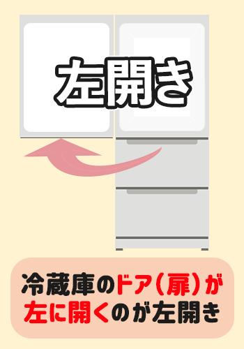 左開きの冷蔵庫