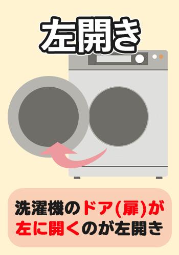 左開きの洗濯機ドア