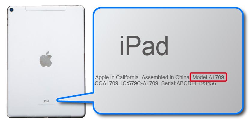 iPadの背面カバーでモデル番号を確認する