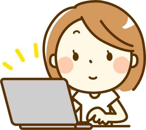 女性がパソコンを操作しているイラスト