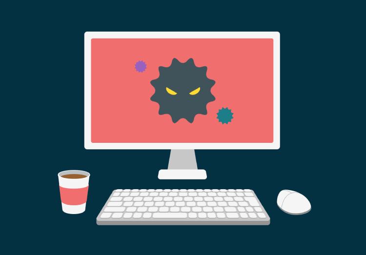 ウイルスにかかったパソコンのイメージイラスト