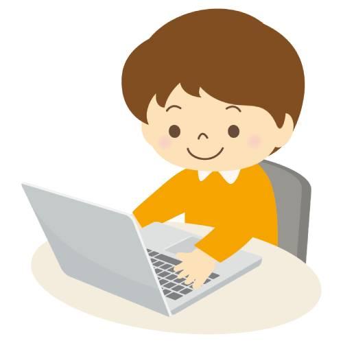 男の子がパソコンを操作するイラスト