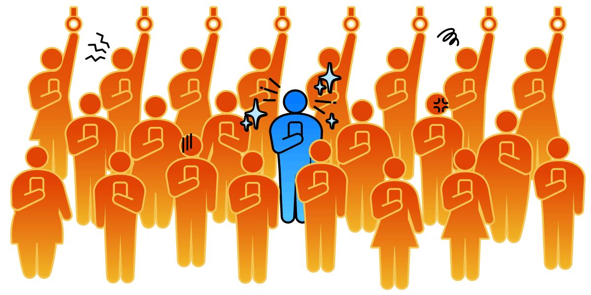 【イライラ】満員電車のスマホ電波がつながらない原因は?条件アリの裏ワザ的解決策も!TOP画