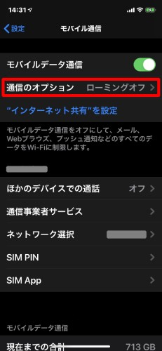 通信オプションのスクリーンショット画像