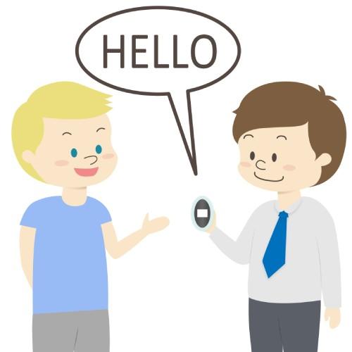 外国人に翻訳機を使ってHelloと喋っているイラスト画像