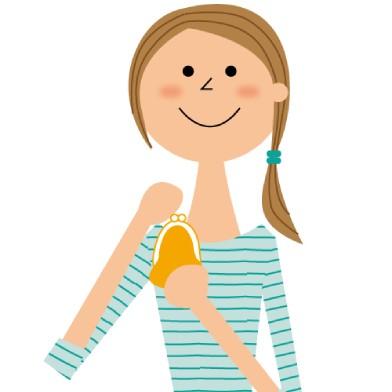 女性が財布を持って微笑んでいるイラスト画像