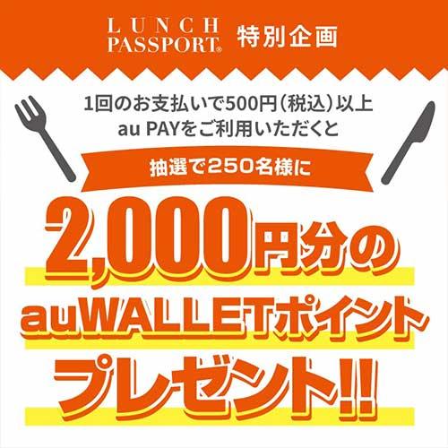 【高知エリア】高知の対象加盟店で500円以上au PAYで決済すると、抽選で2,000ポイントが当たる!