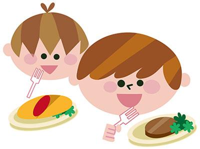 食べ物と子供 イラスト