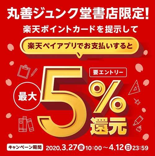 丸善・ジュンク堂書店限定!楽天ポイント最大5%還元キャンペーン