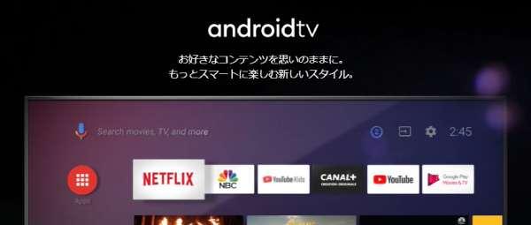android TV ホームページのキャプチャ画像