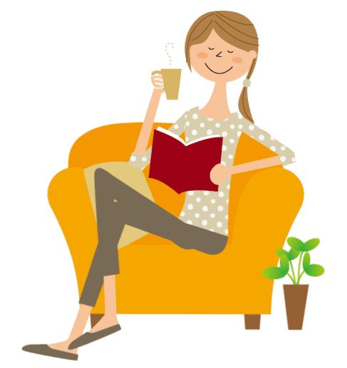 ソファに座ってくつろぐ女性のイラスト