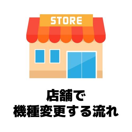 店舗で機種変更する流れのイメージ図