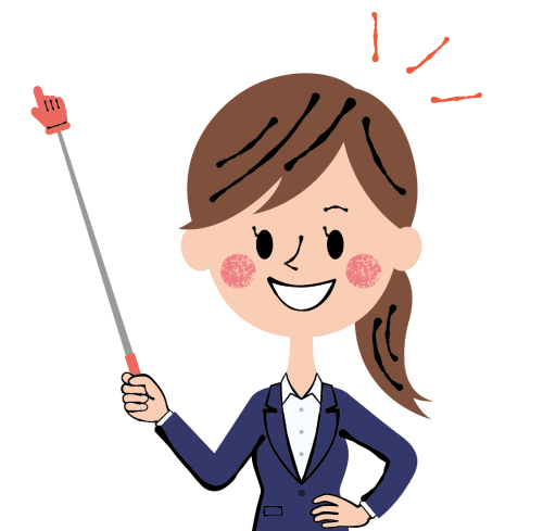 指さし棒を持った女性のイラスト