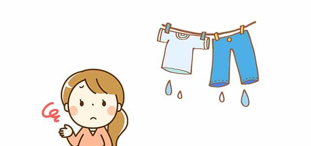しっかり脱水されていない洗濯物