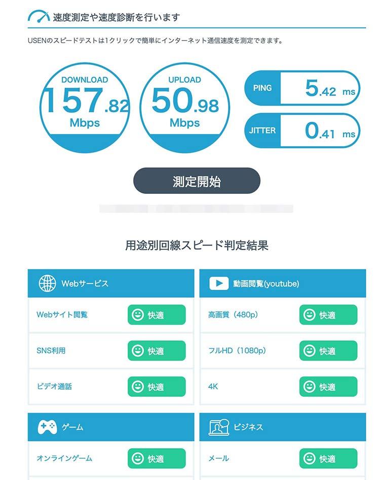 下り速度、上り速度、Ping値、用途別のスピード判定が表示される