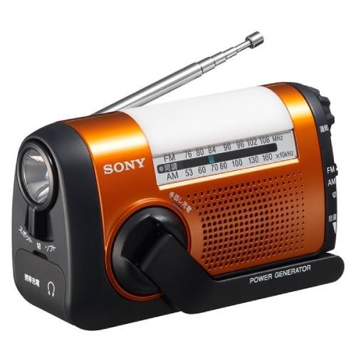 手回し充電対応 FM/AMポータブルラジオ オレンジ  ICF-B09-D 商品コード:4548736016095