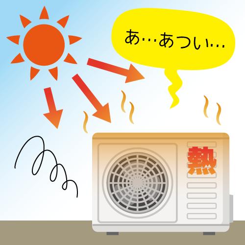 室外機に直射日光があたる 説明画