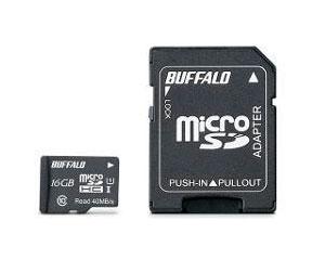 【BUFFALO】microSDHCカード UHS-I Class1対応 アダプター付 16GB|RMSD-016GU1SA JAN:4981254030622