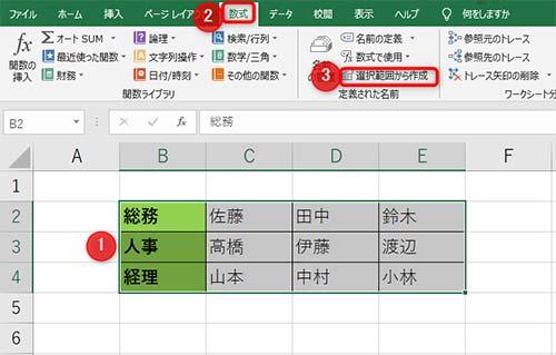 1使用する項目を範囲選択、2タブ内の数式、3選択範囲から作成