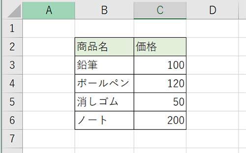 プルダウンの元になる商品リストと、その価格をエクセルに作成