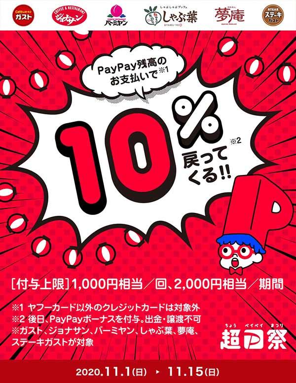 超PayPay祭「ガスト・ジョナサン・バーミヤン・しゃぶ葉・夢庵・ステーキガスト」で超おトクキャンペーン