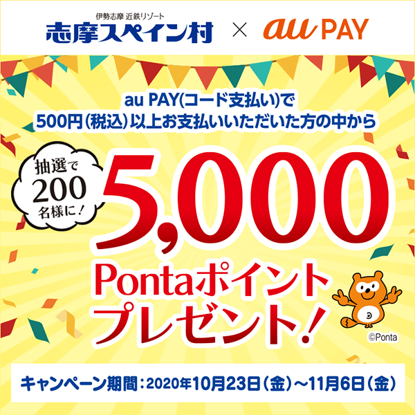 au PAY決済をご利用で抽選200名様に5,000Pontaポイント当たる!