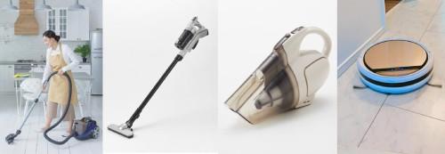 キャニスター型、スティック型、ハンディ型、ロボット掃除機のイメージ