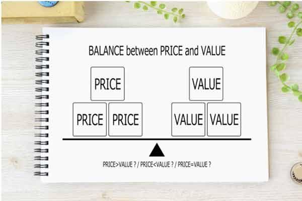 価格と価値のバランスイメージ