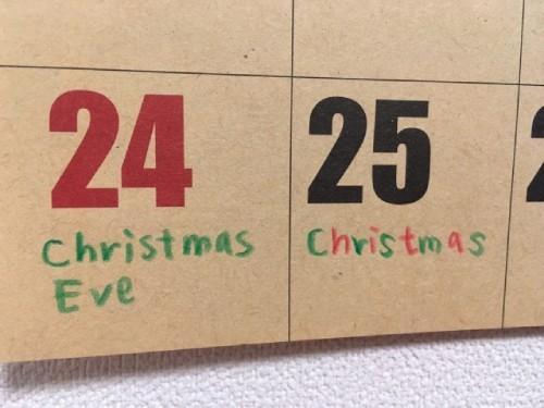 カレンダーに書き込むイメージ