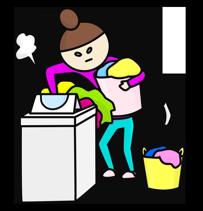 洗濯物を詰め込む女性