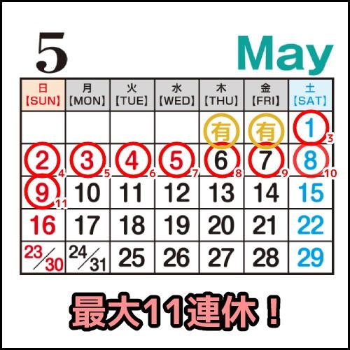 2021年GW5月のカレンダーのイメージ