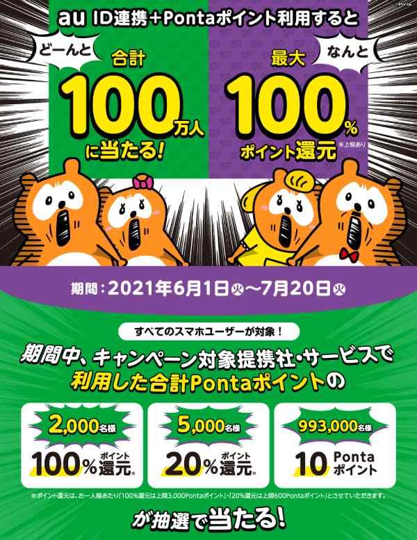 7/20(火)まで!100万名に最大100%Pontaポイント還元キャンペーン♪