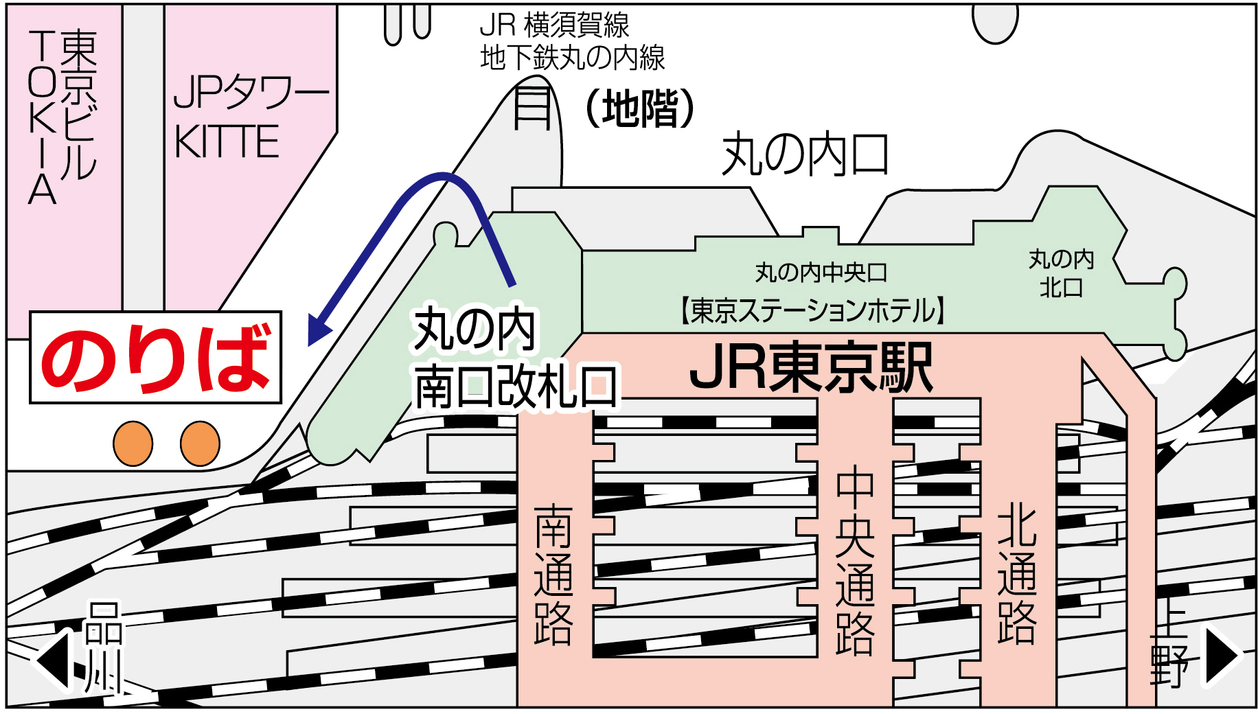 東京駅バス停位置地図